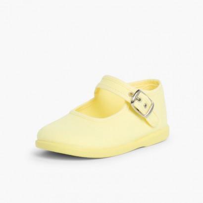 Chaussures en Toile avec Fermeture à boucle Jaune citron
