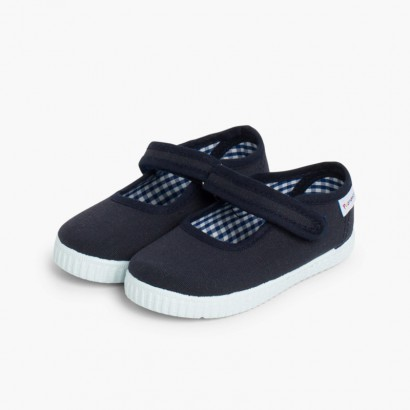 Chaussures Babies Fille à scratch style basket Bleu marine