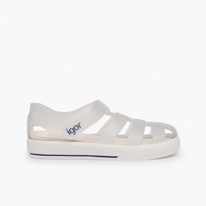 Sandales de plage avec du à scratch de type tennis Blanc