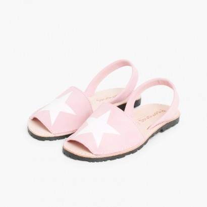 Sandales Avarcas Nubuck avec étoile Rose