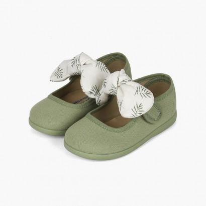 Chaussures babies type ange nœud imprimé Vert