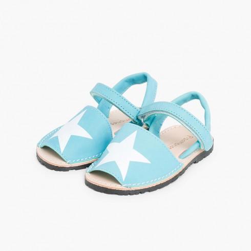 Sandales Avarcas Enfants Nubuck avec Étoile et à scratch Turquoise