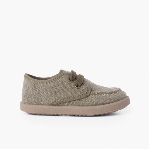 Chaussures Bateau Toile Casual Semelle Sport Kaki