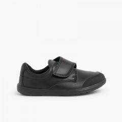 Chaussure d'écolier lavable avec embout renforcé  Noir