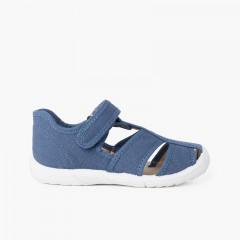 Chaussures salomé sandale à scratch garçon bout renforcé Bleu denim