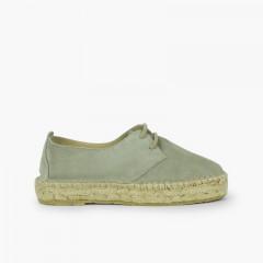 Chaussures blucher fille et femme plateforme jute Vert menthe