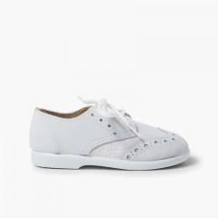 Chaussures blucher piquées en lin et suède pour garçons Blanc