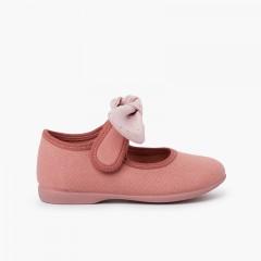 Chaussures Babies en Toile Nœud à Pois Rose