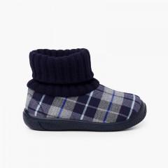 Chaussons avec col chaussette en laine Bleu marine