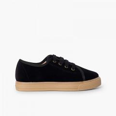 Chaussures à lacets en velours à semelle large pour enfants Noir