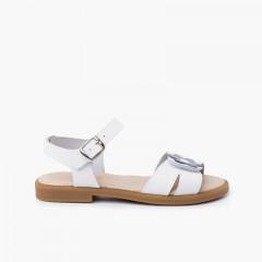 Sandale à fleurs adhérentes à large bride avec fermeture à boucle Blanc fleur gris bleuâtre