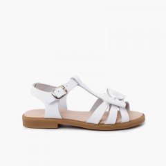 Sandale en cuir pour fille avec fermeture à boucle Blanc