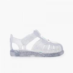 Sandales de plage bande adhésive avec licorne pailletées Blanc