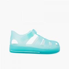 Sandales à semelle ton sur ton et fermeture à clip Aigue-marine