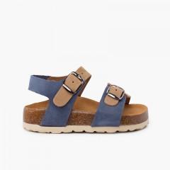 Sandales bio enfant bicolore double boucle  jean bleu et beige