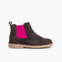 Chelsea Boots Fille Femme avec Elastique Coloré Gris et Rose