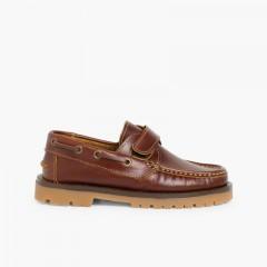 Chaussures bateau pour Garçon avec Scratch Marron