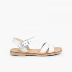 Sandale Croisée Cuir Lisse  Blanc