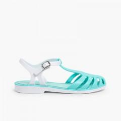 Sandales de Plage en Plastique pour Fille – Modèle Laida Mini Aigue-marine