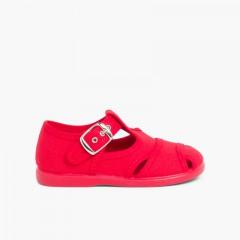 Salomés style sandales en toile Rouge