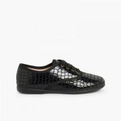 Chaussures Oxford Fille et Femme – Imitation Croco Noir
