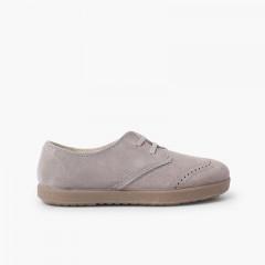 Chaussures blucher en suède avec motifs piqués sur le bout Gris