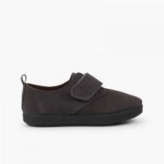 Chaussures Blucher casual en suède et à scratch Gris