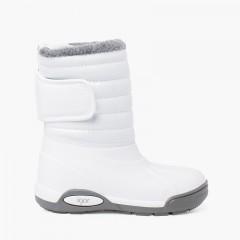 Bottes Après-ski Verni Doublure Fourrure Fermeture Réglable Blanc