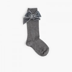 Chaussettes pour enfants avec nœud en velours  Gris