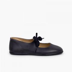 Chaussures babies type ange cuir Bleu marine