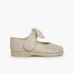 Chaussures Babies Type Ange à Pois Brillants Beige