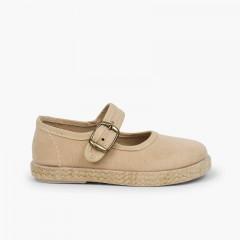 Chaussures babies boucle bamara et jute Beige