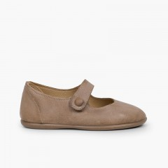 Chaussures babies fille cuir à scratch bouton Taupe