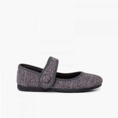 Chaussures babies fille tweed avec fermeture à scratch Gris