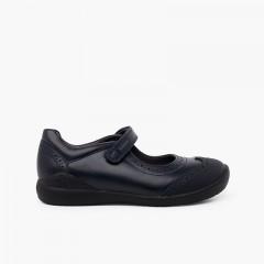 Chaussures d'école fille Biomecanics avec haché Bleu marine