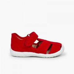 Chaussures salomé sandale à scratch garçon bout renforcé Rouge