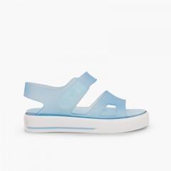 Sandales en caoutchouc type baskets Malibu Ciel clair