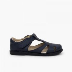 Sandales garçon cuir à scratch type chaussures salomé Bleu marine