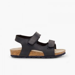 Sandales en cuir bio pour enfant double à scratch Bleu marine