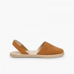 Sandales fermées fille et femme suède Camel