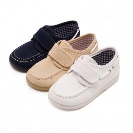 Chaussures Bateau en Toile et Fermeture Velcro
