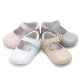 Chaussures babies en cuir avec fermetures velcro pour bébés