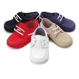 Chaussures Bateau en Toile avec Lacets