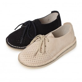 Chaussures Derbies en Suède Perforé