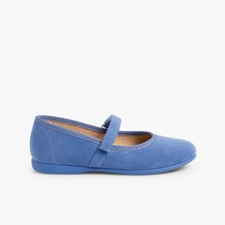 Chaussures fille en serratex avec à scratch Bleu azur