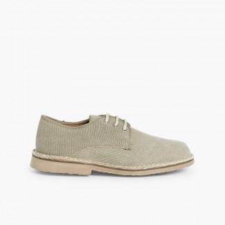 Chaussures Blucher avec Tissu Canvas - Garçon & Homme  Brun