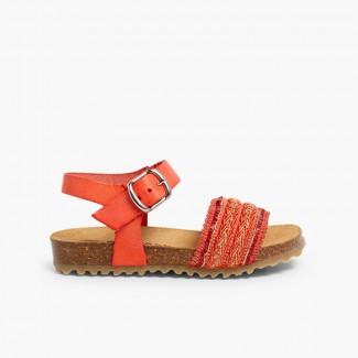 Sandales Bio en Cuir avec Lanière en Tissu Saumon