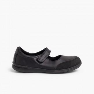Chaussures d'école Fille lavable Babies à embout renforcé Noir