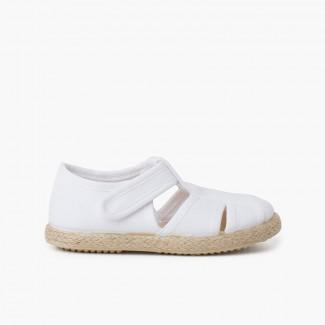 Chaussures salomé sandales ouvertures toile et jute Blanc