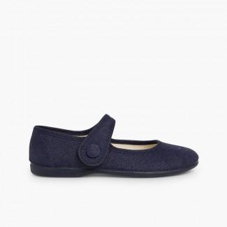 Chaussures babies fille lin à scratch bouton Bleu marine